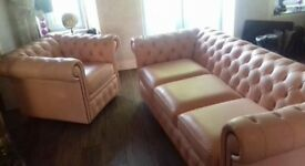 Beautiful like newl 3 seater LEATHER Chesterfield sofa in peach and matching chair
