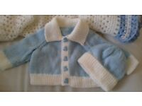3 hand knitted baby boy cardigans