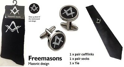 Masonic Gents Neck Tie, Socks & Cufflinks Set. Freemasons Mason Lodge Gift Set
