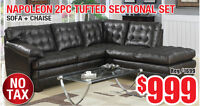 Napoleon 2pc Tufted Sectional Set, $999 Tax Included!!!