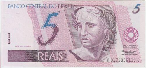 Brazil banknote P244Ac 5 Reais prefix A3179 scarce, UNC
