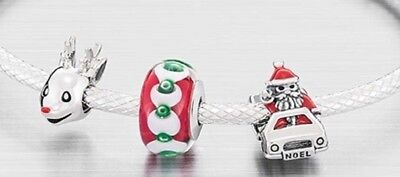SALE 50% off Brand New Chamilia 925 Silver SANTA & FRIENDS 3 Charms Set RRP £90