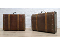 Pair Of Vintage Bentwood Suitcases (DELIVERY AVAILABLE)