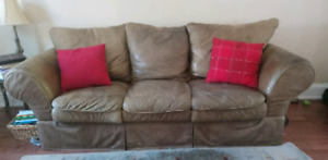 Leather couch, chair & ottoman