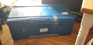Malle / Cantine en métal bleu de 90 cm - Parfait pour transport