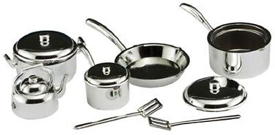 Dollhouse Miniature 10 pc Set of Pots and Pans in Chrome Finish