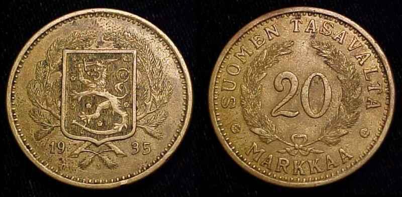 FINLAND 1935 S 20 Markkaa XF **