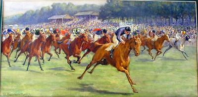 William Hounsom BYLES (1872-1928) WATERCOLOR HORSE RACE