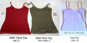Tank TOPS, Red, Olive Green, S; Crop top Lilac size 10/12