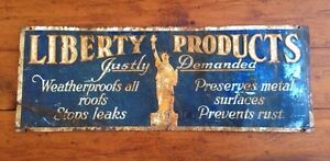 Rare antique Liberty products Advertising  tin sign New York
