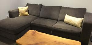 "113"" Long Dark Grey Sectional Sofa"