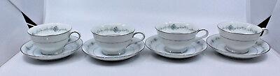 Noritake Porcelain Glencoe 6505 Footed Coffee Tea Mug Cup Saucer Set of 4 Japan