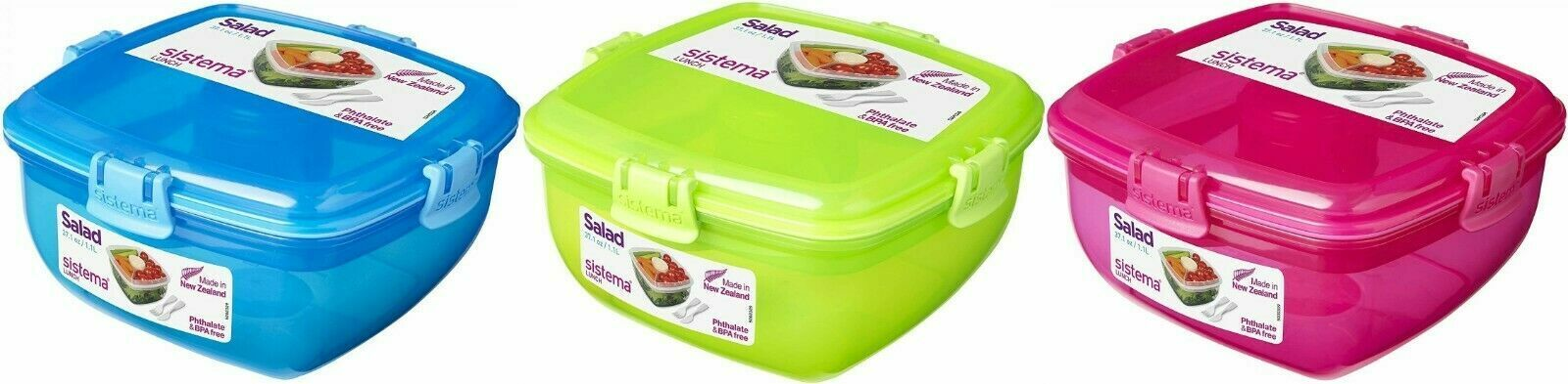 Sistema Salad to Go Container Klip It Food Lunch Box 37.1 oz – Select a Color Home & Garden