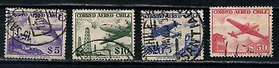 CHILE four 1956 to 1958 aereo stamps, used