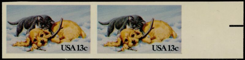 "#2025a ""puppy & Kitten"" Imperf Pair Major Error Og Nh Bq5205"