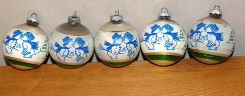 Vintage Christmas Mercury Glass Shiny Brite Kissing Snowman & Mrs Ornaments Lot
