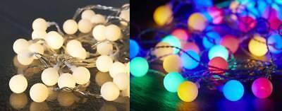 LED Party Lichterkette für Außen 50 Kugeln weiß oder bunt multicolor 7,35m ()