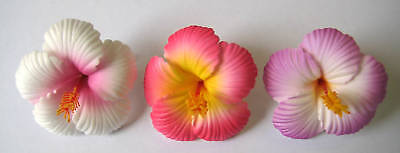 Set of 3 ~ Hawaiian Hawaii Bridal Wedding Party Hibiscus Foam Flower Hair Clips - Hawaiian Hair Clips