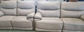 Real leather grey 3+2 seater reclining sofa