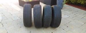 4 pneus été runflat 255/50/19 bristone dueller hl400  107h  bon pour 3 été a 8/32