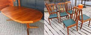 "Set: REFINISHED Mid Century Modern Teak  Extension Dining Table 49""-90"" and 6 Chairs"