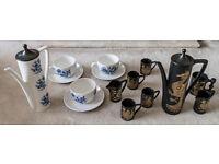 Portmeirion Pottery Phoenix and Blue Holland part Coffee Set Very Rare Coptic Brocade
