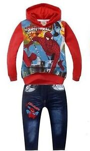 New- Boys Sz 6/7 Spider-Man Graphic Hoodie & Jeans Set