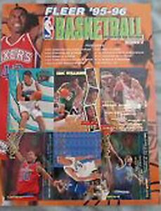 6 UNCUT 95-96 SPORTS CARDS PROMO SHEETS