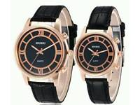 New SOUSOU Faux Leather Analog Couple Watches Black