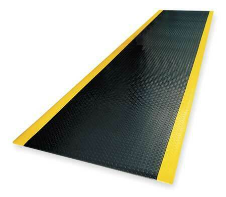 NOTRAX 419C0036BY Black/Yellow Antifatigue Runner 3 ft W x 22 ft L, 1/2 in, PVC