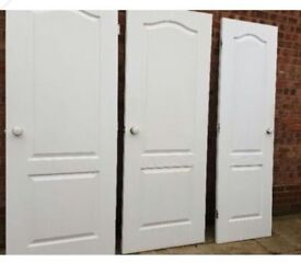 White Arched 2 Panel Woodgrain Doors x 3
