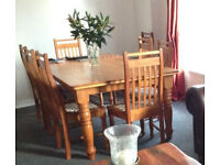Bespoke handmade oak dining room table with 8 chairs