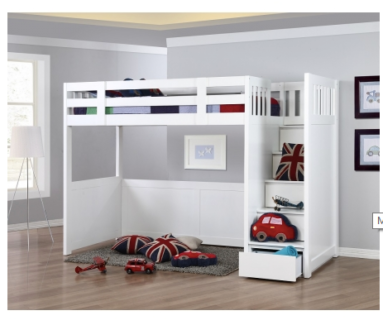 King single bunk bed with storage