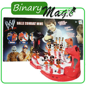 Wwe Balle Combat Black & Red 12 Top Stands Wrestler Shooter Wrestling Kids Game