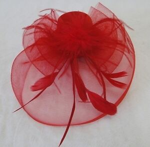 MINI HAT WITH NET & FEATHER CLIP FASCINATOR : CHOOSE COLOUR : GB0883