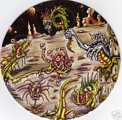 SPACE  MONSTERS CIRCULAR  POG CARD of 6 POGS