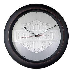Clock, Harley-Davidson®, Silver, Red, Black, Aluminum Embossed