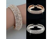 Elegant Women's Fashion Crystal Rhinestone Bracelet in Gold and Sliver