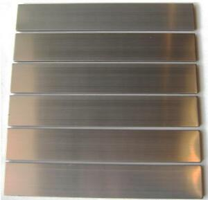 brushed stainless steel subway mosaic tile backsplash