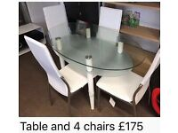 new white, clear and frosted glass table and 4 chairs