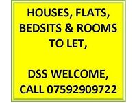 1 BEDROOM FLATS TO LET OVER 35'S ONLY, DSS WELCOME
