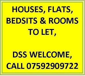 BEDSITS TO LET - OVER 30 ONLY - DSS CONSIDERED