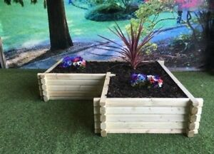 Corner L Shaped Wooden Planter Raised Flower Bed Timber (Treated) FREE DELIVERY