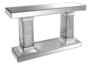 A Mirror Body With Glass Bead Accent Pillar Console Table (MS1108)