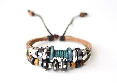 NEW Leather Hemp Beaded Bracelet Wristband Vintage Cuff Brown Tribal Slip Knot