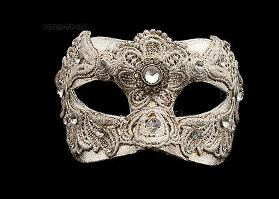 Mask from Venice Colombine Macrame Silver Authentic in Paper Mache 213