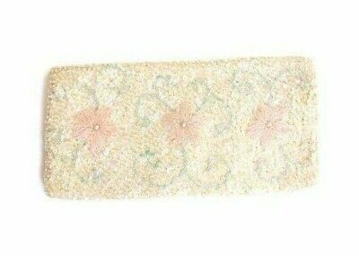 1920s Handbags, Purses, and Shopping Bag Styles FLORAL PINK BEADED Sequin Pearlescent shimmer Dance Clutch 1920s 30s Flapper $30.95 AT vintagedancer.com