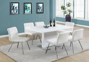 White Glossy Dining Table / Chrome Look Legs