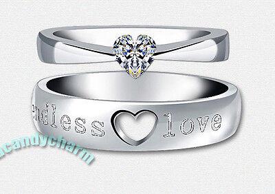 Made in Korea Endless Love Engraved Heart Cut CZ Gem Couple Engagement Rings SET (Cut Couple)