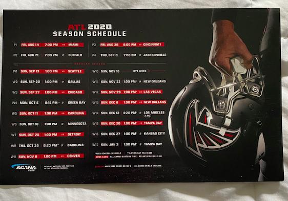 Atlanta Falcons 2020 Schedule Magnet